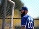 Feb 12, 2014; Glendale, AZ, USA; Los Angeles Dodgers pitcher Brian Wilson (00) during team workouts at Camelback Ranch. Mandatory Credit: Mark J. Rebilas-USA TODAY Sports