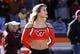 Oct 26, 2013; Blacksburg, VA, USA; A Virginia Tech Hokies cheerleader before the game against the Duke Blue Devils at Lane Stadium. Mandatory Credit: Peter Casey-USA TODAY Sports
