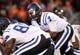 Oct 26, 2013; Blacksburg, VA, USA; Duke Blue Devils quarterback Anthony Boone (7) during the game against the Virginia Tech Hokies at Lane Stadium. Mandatory Credit: Peter Casey-USA TODAY Sports