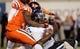 Oct 26, 2013; Blacksburg, VA, USA; Virginia Tech Hokies defensive end Dadi Nicolas (90) sacks Duke Blue Devils quarterback Anthony Boone (7) at Lane Stadium. Mandatory Credit: Peter Casey-USA TODAY Sports