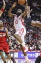 Feb 12, 2014; Houston, TX, USA; Houston Rockets shooting guard James Harden (13) drives to the basket during the second quarter against the Washington Wizards at Toyota Center. Mandatory Credit: Troy Taormina-USA TODAY Sports