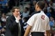 Feb 12, 2014; Auburn Hills, MI, USA; Detroit Pistons head coach John Loyer talks to referee Eric Lewis (42) during the fourth quarter against the Cleveland Cavaliers at The Palace of Auburn Hills. Cleveland won 93-89. Mandatory Credit: Tim Fuller-USA TODAY Sports