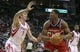 Feb 12, 2014; Houston, TX, USA; Washington Wizards center Kevin Seraphin (13) controls the ball during the fourth quarter as Houston Rockets center Omer Asik (3) defends at Toyota Center. Mandatory Credit: Troy Taormina-USA TODAY Sports