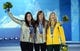 Feb 13, 2014; Sochi, RUSSIA; Torah Bright (AUS), right, Kaitlyn Farrington (USA), middle, and Kelly Clark (USA) pose during the medal ceremony for the ladies' halfpipe at the Sochi 2014 Olympic Winter Games at the Medals Plaza. Mandatory Credit: James Lang-USA TODAY Sports