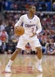 Feb 12, 2014; Los Angeles, CA, USA; Los Angeles Clippers guard Chris Paul (3) dribbles the ball against the Portland Trail Blazers at Staples Center. The Clippers defeated the Trail Blazers 122-117. Mandatory Credit: Kirby Lee-USA TODAY Sports