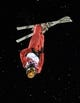 Feb 14, 2014; Krasnaya Polyana, RUSSIA; Mengtao Xu (CHN) performs her final jump in the ladies' freestyle skiing aerials finals during the Sochi 2014 Olympic Winter Games at Rosa Khutor Extreme Park. Xu won silver. Mandatory Credit: Jack Gruber-USA TODAY Sports