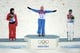 Feb 14, 2014; Krasnaya Polyana, RUSSIA; Alla Tsuper (BLR, 13) wins gold, Mengtao Xu (CHN, 3) wins silver, and Lydia Lassila (AUS, 4) wins bronze in the ladies' freestyle skiing aerials finals during the Sochi 2014 Olympic Winter Games at Rosa Khutor Extreme Park. Mandatory Credit: Eric Bolte-USA TODAY Sports