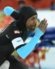 Feb 15, 2014; Sochi, RUSSIA;  American Shani Davis in speed skating men's 1500m during the Sochi 2014 Olympic Winter Games at Adler Arena Skating Center. Mandatory Credit: Robert Hanashiro-USA TODAY Sports