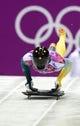 Feb 15, 2014; Krasnaya Polyana, RUSSIA; John Farrow (AUS) on his final run in the men's skeleton during the Sochi 2014 Olympic Winter Games at Sanki Sliding Center. Mandatory Credit: John David Mercer-USA TODAY Sports