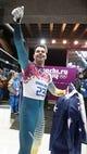 Feb 15, 2014; Krasnaya Polyana, RUSSIA; John Farrow (AUT) reacts after heat 4 of men's skeleton during the Sochi 2014 Olympic Winter Games at Sanki Sliding Center. Mandatory Credit: Kevin Jairaj-USA TODAY Sports