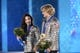 Feb 18, 2014; Sochi, RUSSIA; Meryl Davis (left) and Charlie White (right), of the United States of America, react after receiving their gold medals during the medal ceremony for Figure Skating Ice Dance during the Sochi 2014 Olympic Winter Games at the Medals Plaza. Mandatory Credit: Jayne Kamin-Oncea-USA TODAY Sports