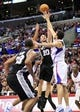 February 18, 2014; Los Angeles, CA, USA; San Antonio Spurs shooting guard Manu Ginobili (20) shoots the ball against the Los Angeles Clippers during the second half at Staples Center. Mandatory Credit: Gary A. Vasquez-USA TODAY Sports