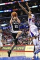February 18, 2014; Los Angeles, CA, USA; San Antonio Spurs shooting guard Manu Ginobili (20) moves to the basket against the Los Angeles Clippers during the second half at Staples Center. Mandatory Credit: Gary A. Vasquez-USA TODAY Sports