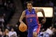 Feb 19, 2014; Charlotte, NC, USA; Detroit Pistons guard Brandon Jennings (7) drives down the court during the first half of the game against the Charlotte Bobcats at Time Warner Cable Arena. Mandatory Credit: Sam Sharpe-USA TODAY Sports