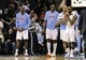 Feb 19, 2014; Charlotte, NC, USA; Charlotte Bobcats (from left to right) forward center Bismack Biyombo (0), forward Anthony Tolliver (43), guard Gerald Henderson (9), and guard Kemba Walker (15) celebrate the win over the Detroit Pistons at Time Warner Cable Arena. Bobcats win 116-98. Mandatory Credit: Sam Sharpe-USA TODAY Sports