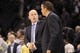 Feb 19, 2014; Charlotte, NC, USA; Charlotte Bobcats head coach Steve Clifford shakes the hand of the Detroit Pistons head coach John Loyer after the game at Time Warner Cable Arena. Bobcats win 116-98. Mandatory Credit: Sam Sharpe-USA TODAY Sports