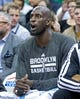 Feb 19, 2014; Salt Lake City, UT, USA; Brooklyn Nets power forward Kevin Garnett (2) reacts from the bench during the first half against the Utah Jazz at EnergySolutions Arena. Mandatory Credit: Russ Isabella-USA TODAY Sports