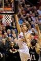 Feb 19, 2014; Portland, OR, USA; Portland Trail Blazers center Robin Lopez (42) shoots over San Antonio Spurs center Jeff Ayres (11) during the second quarter at the Moda Center. Mandatory Credit: Craig Mitchelldyer-USA TODAY Sports