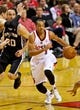 Feb 19, 2014; Portland, OR, USA; Portland Trail Blazers shooting guard C.J. McCollum (3) drives to the basket against the San Antonio Spurs during the second quarter at the Moda Center. Mandatory Credit: Craig Mitchelldyer-USA TODAY Sports