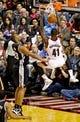 Feb 19, 2014; Portland, OR, USA; Portland Trail Blazers power forward Thomas Robinson (41) dunks over San Antonio Spurs power forward Boris Diaw (33) during the third quarter at the Moda Center. Mandatory Credit: Craig Mitchelldyer-USA TODAY Sports