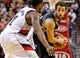 Feb 19, 2014; Portland, OR, USA; San Antonio Spurs shooting guard Marco Belinelli (3) looks to the hoop past Portland Trail Blazers shooting guard Wesley Matthews (2) during the fourth quarter at the Moda Center. Mandatory Credit: Craig Mitchelldyer-USA TODAY Sports