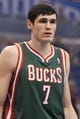 Jan 31, 2014; Orlando, FL, USA; Milwaukee Bucks power forward Ersan Ilyasova (7) against the Orlando Magic during the first quarter at Amway Center. Mandatory Credit: Kim Klement-USA TODAY Sports