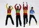 Feb 20, 2014; Krasnaya Polyana, RUSSIA; Eric Frenzel (red), Bjoern Kircheisen (green), Johannes Rydzek (orange), and Fabian Riessle (blue) of Germany win silver in nordic combined team gundersen LH / 4x5 km during the Sochi 2014 Olympic Winter Games at RusSki Gorki Ski Jumping Center. Mandatory Credit: Rob Schumacher-USA TODAY Sports