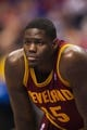 Feb 18, 2014; Philadelphia, PA, USA; Cleveland Cavaliers forward Anthony Bennett (15) during the first quarter against the Philadelphia 76ers at the Wells Fargo Center. The Cavaliers defeated the Sixers 114-85. Mandatory Credit: Howard Smith-USA TODAY Sports