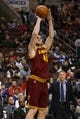 Feb 18, 2014; Philadelphia, PA, USA; Cleveland Cavaliers center Tyler Zeller (40) shoots a jump shot during the third quarter against the Philadelphia 76ers at the Wells Fargo Center. The Cavaliers defeated the Sixers 114-85. Mandatory Credit: Howard Smith-USA TODAY Sports