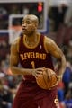 Feb 18, 2014; Philadelphia, PA, USA; Cleveland Cavaliers guard Jarrett Jack (1) during the third quarter against the Philadelphia 76ers at the Wells Fargo Center. The Cavaliers defeated the Sixers 114-85. Mandatory Credit: Howard Smith-USA TODAY Sports
