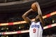 Feb 18, 2014; Philadelphia, PA, USA; Philadelphia 76ers guard James Anderson (9) shoots a jump shot during the fourth quarter against the Cleveland Cavaliers at the Wells Fargo Center. The Cavaliers defeated the Sixers 114-85. Mandatory Credit: Howard Smith-USA TODAY Sports