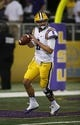 Aug 31, 2013; Arlington, TX, USA; LSU Tigers quarterback Zach Mettenberger (8) warms up before the game against the TCU Horned Frogs at Cowboys Stadium. Mandatory Credit: Tim Heitman-USA TODAY Sports