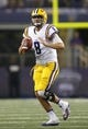 Aug 31, 2013; Arlington, TX, USA; LSU Tigers quarterback Zach Mettenberger (8) throws a pass in the second quarter of the game against the TCU Horned Frogs at Cowboys Stadium. Mandatory Credit: Tim Heitman-USA TODAY Sports