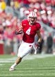Sep 21, 2013; Madison, WI, USA;  Wisconsin Badgers wide receiver Jared Abbrederis (4) during the game against the Purdue Boilermakers at Camp Randall Stadium. Mandatory Credit: Jeff Hanisch-USA TODAY Sports