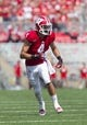 Sep 7, 2013; Madison, WI, USA; Wisconsin Badgers wide receiver Jared Abbrederis (4) during the game against the Tennessee Tech Golden Eagles at Camp Randall Stadium. Mandatory Credit: Jeff Hanisch-USA TODAY Sports