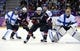 Feb 22, 2014; Sochi, RUSSIA; USA forward Zach Parise (9) and USA forward Ryan Kesler (17) position themselves in front of the Finland net against Finland goalie Tuukka Rask (40) , defenseman Kimmo Timonen (44) and forward Mikael Granlund (64) in the men's ice hockey bronze medal game during the Sochi 2014 Olympic Winter Games at Bolshoy Ice Dome. Mandatory Credit: Scott Rovak-USA TODAY Sports
