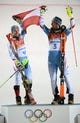 Feb 22, 2014; Krasnaya Polyana, RUSSIA; Mario Matt (AUT, 3) wins gold and Marcel Hirscher (AUT, 4) wins silver in men's alpine skiing slalom during the Sochi 2014 Olympic Winter Games at Rosa Khutor Alpine Center. Mandatory Credit: Jack Gruber-USA TODAY Sports