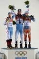 Feb 22, 2014; Krasnaya Polyana, RUSSIA; Mario Matt (AUT, 3) wins gold, Marcel Hirscher (AUT, 4) wins silver, and Henrik Kristoffersen (NOR, 5) wins bronze in men's alpine skiing slalom during the Sochi 2014 Olympic Winter Games at Rosa Khutor Alpine Center. Mandatory Credit: Eric Bolte-USA TODAY Sports