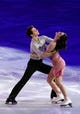 Feb 22, 2014; Sochi, RUSSIA; Tessa Virtue and Scott Moir of Canada perform in the figure skating gala exhibition during the Sochi 2014 Olympic Winter Games at Iceberg Skating Palace. Mandatory Credit: James Lang-USA TODAY Sports