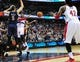 Feb 22, 2014; Washington, DC, USA; Washington Wizards guard John Wall (2) passes the ball to forward Nene (42) on the last play of the game to beat the New Orleans Pelicans 94-93 at Verizon Center. Mandatory Credit: Evan Habeeb-USA TODAY Sports