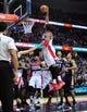 Feb 22, 2014; Washington, DC, USA; Washington Wizards forward Nene (42) dunks to score a basket  against the New Orleans Pelicans 94-93 at Verizon Center. Mandatory Credit: Evan Habeeb-USA TODAY Sports
