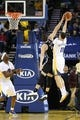 Feb 22, 2014; Oakland, CA, USA; Brooklyn Nets power forward Mirza Teletovic (33) blocks the shot by Golden State Warriors shooting guard Klay Thompson (11) during the second quarter at Oracle Arena. Mandatory Credit: Kelley L Cox-USA TODAY Sports