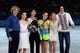 Feb 22, 2014; Sochi, RUSSIA; Gold medalists (L-R) ice dance Charlie White and Meryl Davis of the USA, mens Yuzuru Hanyu of Japan, women's Adelina Sotnikova of Russia, and pairs Tatiana Volosozhar and Maxim Trankov of Russia pose for photos after the figure skating gala exhibition during the Sochi 2014 Olympic Winter Games at Iceberg Skating Palace. Mandatory Credit: Kyle Terada-USA TODAY Sports