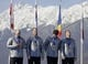 Feb 23, 2014; Krasnaya Polyana, RUSSIA; (From left to right) USA-1 team of Steven Holcomb, Curtis Tomasevicz, Steven Langton, and Christopher Fogt win bronze at the medal ceremony for four-man bobsleigh during the Sochi 2014 Olympic Winter Games at Sanki Sliding Center. Mandatory Credit: Andrew P. Scott-USA TODAY Sports