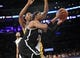February 23, 2014; Los Angeles, CA, USA; Brooklyn Nets small forward Paul Pierce (34) moves to the basket against the Los Angeles Lakers during the first half at Staples Center. Mandatory Credit: Gary A. Vasquez-USA TODAY Sports