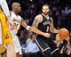 February 23, 2014; Los Angeles, CA, USA; Brooklyn Nets point guard Deron Williams (8) controls the ball against Los Angeles Lakers shooting guard Jodie Meeks (20) during the first half at Staples Center. Mandatory Credit: Gary A. Vasquez-USA TODAY Sports