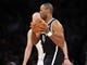 February 23, 2014; Los Angeles, CA, USA; Brooklyn Nets center Jason Collins (46) controls the ball against the Los Angeles Lakers during the second half at Staples Center. Mandatory Credit: Gary A. Vasquez-USA TODAY Sports