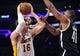 February 23, 2014; Los Angeles, CA, USA; Los Angeles Lakers center Pau Gasol (16) moves to the basket  against  Brooklyn Nets center Jason Collins (46) during the second half at Staples Center. Mandatory Credit: Gary A. Vasquez-USA TODAY Sports