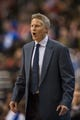 Feb 21, 2014; Philadelphia, PA, USA; Philadelphia 76ers head coach Brett Brown during the fourth quarter against the Dallas Mavericks at the Wells Fargo Center. The Mavericks defeated the Sixers 124-112. Mandatory Credit: Howard Smith-USA TODAY Sports