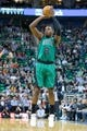 Feb 24, 2014; Salt Lake City, UT, USA; Boston Celtics small forward Jeff Green (8) shoots the ball during the first half against the Utah Jazz at EnergySolutions Arena. Mandatory Credit: Russ Isabella-USA TODAY Sports